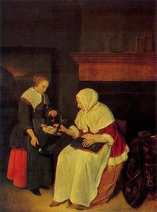 Interieur met huisvrouw en dienstmeid