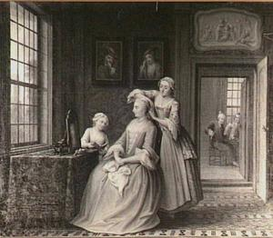 Vrouw die toilet maakt en haar bediendes in een interieur