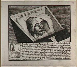 Portret van Sebilla Voogt op haar doodsbed
