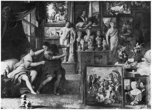 Interieur van een kunstverzameling met Joseph en de vrouw van Potifar