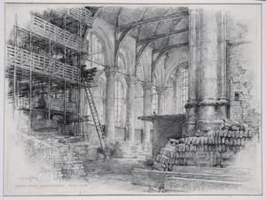 Interieur Oude Kerk Amsterdam tijdens de restauratie
