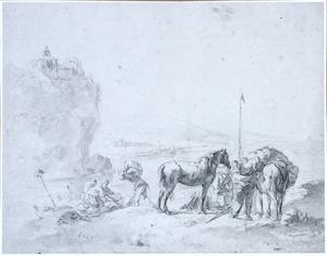 Bergachtig rivierlandschap met het ontladen van twee paarden