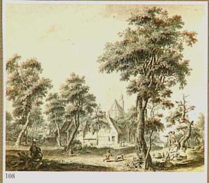 Landschap met dorp en rustende fiiguren