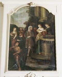 Rebekka put water voor Eliëzers kamelen  bij de bron (Genesis 24:14-18)
