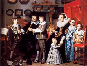 Groepsportret van Michiel van der Dussen (1600-1681), Willemina van Setten (1605-1683) en hun vijf kinderen