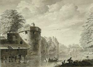 De stadsmuur van Utrecht met waltorens De Vos en De Beer
