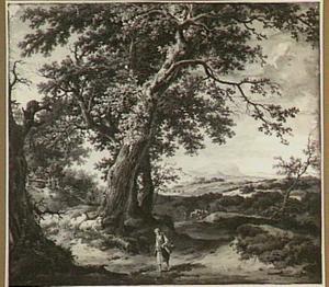 Boomrijk heuvelachtig duinlandschap met vrouw wadend door een beek
