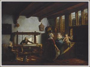 Elegant gezelschap in het interieur van een weverswerkplaats