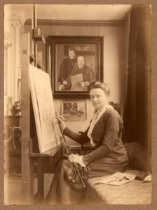 Agnieta Gijswijt in haar atelier, 25/03/1916