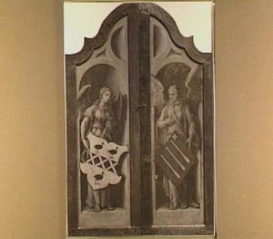 Achterzijde zijlluiken behorend bij drieluik met de aanbidding der Koningen (midden), de aankondiging (links) en de vlucht naar Egypte (rechts)