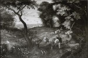 Boslandschap met ruiters en vee