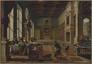 Paleisinterieur met de parabel van de rijke man en de arme Lazarus