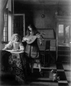 Luitspelende man en zingende vrouw in een interieur