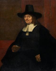 Portret van een man met hoge hoed