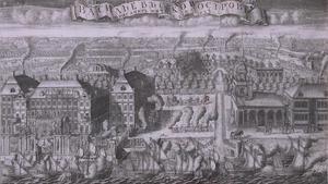 Feestelijke intocht van Zweedse schepen in Sint Petersburg op na de overwinning bij het schiereiland Hanko