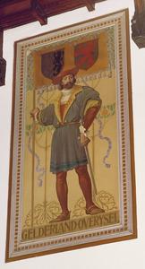 Schutter met vaandel voorzien van de wapens van de provincies Gelderland en Overijssel