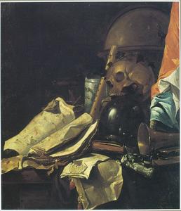 Vanitasstilleven met schedel, glazen bol en banier
