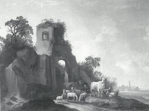 Landschap met een koeherder nabij een ruïne