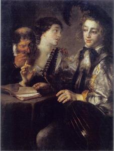 Drie figuren rondom tafel