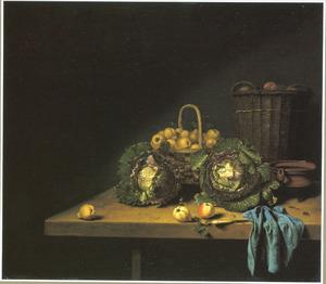 Vruchten- en groentestilleven op een houten tafel