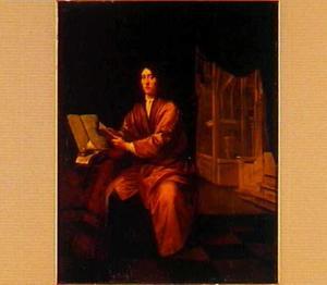 Portret van een geleerde, met doorkijk naar een kerkinterieur