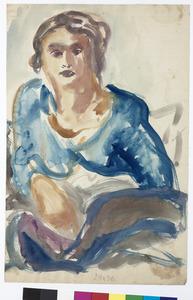 Jonge vrouw in blauwe blouse