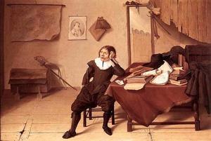 Interieur met een zittende jonge man aan een tafel; zelfportret