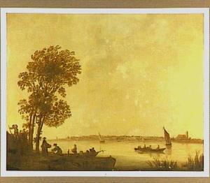 Rivierlandschap met Dordrecht aan de horizon