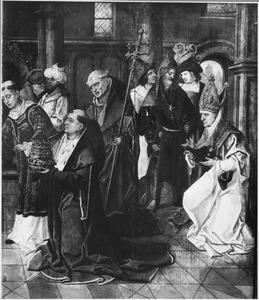 De wijding van een paus (?) (op de achterzijde: Christus als twaalfjarige in de tempel)