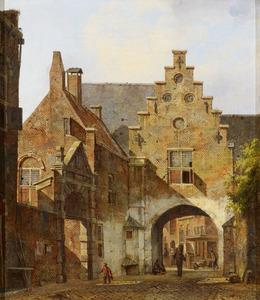 De Pauluspoort te Utrecht gezien vanuit de Korte Nieuwstraat