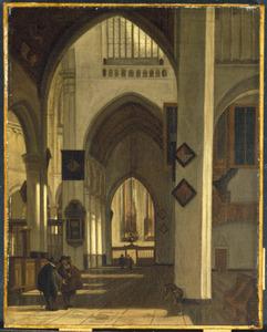 Gezicht in een gotische kerk