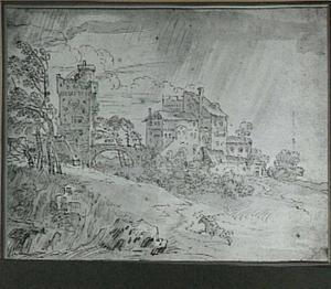 Heuvellandschap met versterkte gebouwen