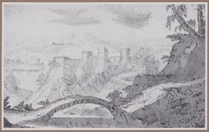 Bergachtig rivierlandschap met kasteel en brug