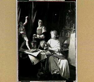 Dame en dienstbode in een atelier
