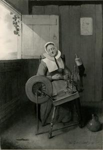 Slapende vrouw gezeten achter een spinnewiel