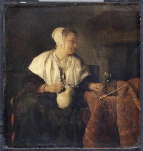 Vrouw met een glas en een kruik