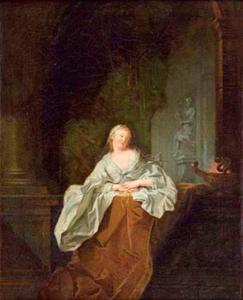 Een jonge vrouw op het terras