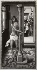 Christus aan de geselpaal met in de achtergrond de verloochening van Petrus