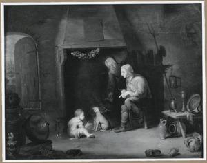 Boerenfamilie bji de haard
