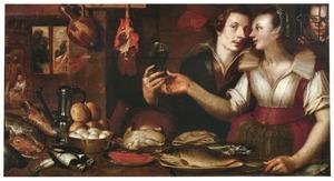 Keukeninterieur met een man die een vrouw een glas aanbiedt