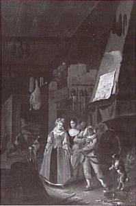 Twee vrouwen en een harlekijn in een bordeel