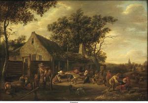 Dansende boeren bij een boerderij