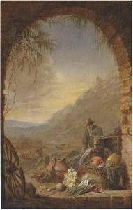 Boer met ezel en groenten onder een boog in een landschap