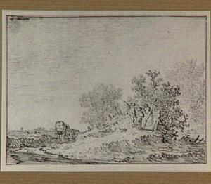 Duinlandschap met huifkar en figuren bij een schutting