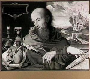 De boetvaardige Hiëronymus in zijn studeervertrek over de crucifix mediterend