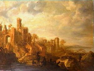 Berglandschap met ruïnes, rechts uitzicht op zee