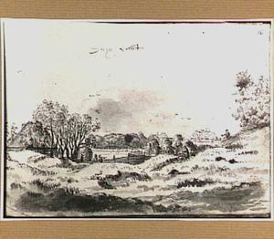Duinlandschap met boerderij in Noord-Holland