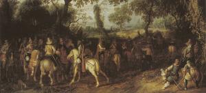 Landschap met een troep soldaten