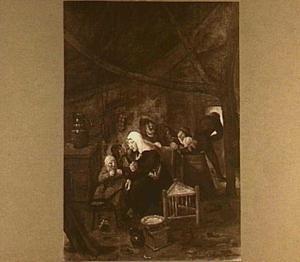 Interieur met kinderen, een man en een vrouw die pannenkoeken bakt