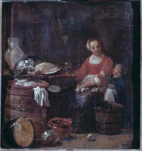 Keukenmeid en kind in een keuken